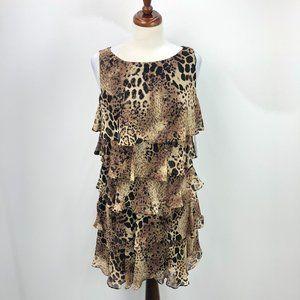 NWT S.L. Fashions Cheetah Print Ruffled Tent Dress